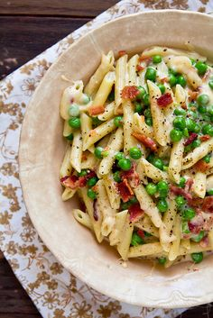 macaroni + cheese with bacon and peas.