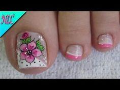 DISEÑO DE UÑAS PARA PIES FLOR Y FRANCÉS - FLOWERS NAIL ART -FRENCH NAIL ART - NLC - YouTube Pretty Toe Nails, Cute Toe Nails, Toe Nail Art, Gel Nails, Nail Polish, Toenail Art Designs, Fall Nail Art Designs, Pedicure Designs, Feet Nail Design