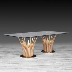 RG Rect Dining Table is part of Room Decor DIY Gold - Mauris Rectangular Luxury Dining Table presented by Allamoda Furniture features a rose gold polished s steel base with clear tempered glass top Unique Dining Tables, Luxury Dining Tables, Luxury Dining Room, Dining Table Design, Glass Dining Table, Solid Wood Dining Table, Coffee Table Design, Modern Table, Gold Table