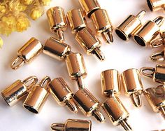 Gold Plated End Capsule, 20pcs Caps For Leather Cord, Brass End Caps, Caps Findings, End Caps Supplies, Metal End Caps, Jewelry Findings