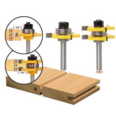 Inch Shank Tongue & Groove Router Bit Set 3 Teeth T-shape Wood Milling