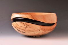 "Spalted Maple and Dye ""Recessed Wave"" Bowl 