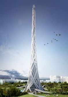 Gallery of Taiwan Tower Competition Entry / Aedas R&D - 8 ♂ Concept futuristic architecture Taiwan Tower Competition Entry / Aedas R Unusual Buildings, Interesting Buildings, Amazing Buildings, Futuristic City, Futuristic Design, Futuristic Architecture, Architecture Design, Amazing Architecture, Chinese Architecture