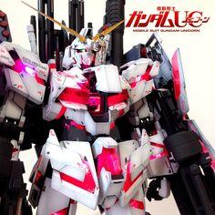 GUNDAM GUY: PG 1/60 Unicorn Gundam 'Awakening' + Full Armor Part Set + LED - Complete Build