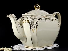 1930s Sadler Cube Antique White Teapot, Vintage Sadler Tea Pot 12646 – The Vintage Teacup