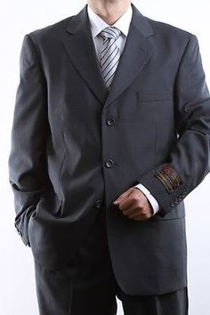 MEN'S SINGLE BREASTED 3 BUTTON CHARCOAL DRESS SUIT SIZE 36S PL-60513-CHA