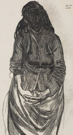 John Bratby - JOB'S WIFE, charcoal