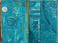 Caderno das estrelas 20 / Star book serie nº2 by Magic Fly Paula - Blueprint.Blue sky.Blue planets.Feeling blue.Deep blue.  http://www.flickr.com/photos/magic_fly/sets/194418/with/36134819/ #drawing #painting #sketchbook #artists_book