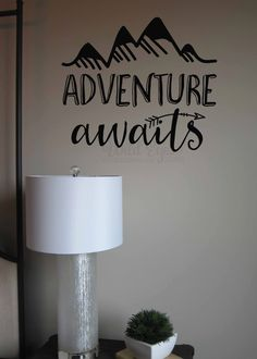 Adventure awaits Vinyl Wall Decal Art Nursery Quote Removable sticker Arrows Mountains Explorer Nature Modern Nursery decor by WildEyesSigns on Etsy