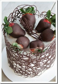 DIY: Chocolate Cage Tutorial- a fabulous idea for cakes, cupcakes, cheesecakes, etc. Can not wait to try it for cupcakes :) Cake Decorating Techniques, Cake Decorating Tips, Cookie Decorating, Food Cakes, Cupcake Cakes, Cupcake Icing, Sweets Cake, Buttercream Cake, Just Desserts