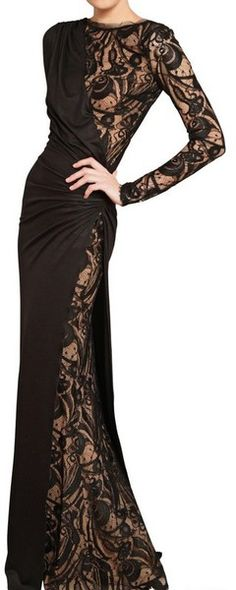Lace and Stretch Wool Jersey Long Dress