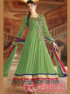 Picture of Elegant Mint Green Designer Anarkali Salwar Kameez Online Long Anarkali, Anarkali Suits, Anarkali Dress, Indian Sarees Online, Silk Sarees Online, Green Fashion, Asian Fashion, Indian Dresses, Indian Outfits