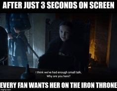 Lady Lyanna Mormont (played by Bella Ramsey), 10 years old, probably the best ruler we've seen in Westeros. Game of Thrones. Winter Is Here, Winter Is Coming, Lady Lyanna Mormont, Game Of Thrones Funny, Got Memes, My Sun And Stars, Fandoms, Iron Throne, Valar Morghulis