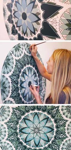Mural wall painting - Mandala mural in Chelles, France by Oksana Stepanova www.oksanastepanova.com