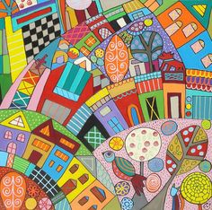 Happy Town Painting by Elizabeth Langreiter - Happy Town Fine Art Prints and Posters for Sale