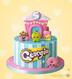 Little Cherry Cake Company (T-Cakes) Shopkins cake - Shopkins Party Ideas Bolo Shopkins, Fete Shopkins, Shopkins Birthday Cake, Shopkins Printable, Birthday Cakes, Pastel Shopkins, Fete Emma, Cherry Cake, Character Cakes