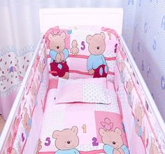 42.80$  Watch more here - http://aijkj.worlditems.win/all/product.php?id=32381440381 - Promotion! 6pcs 100% Cotton Baby Nursery Comfy Cot Crib Bedding Set Baby Bumper,include (bumpers+sheet+pillow cover)