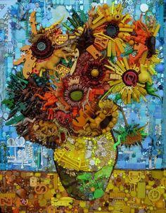 De Zonnebloemen van Vincent van Gogh gemaakt van gevonden voorwerpen