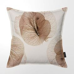 NATURAL WHITE cotton scatter cushion with African Phoenix Palm print & YKK Brass zip.