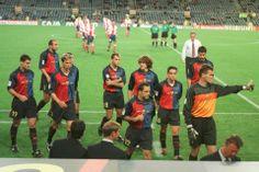 Solidario. Barça-At.Madrid. Copa del Rey. Semifinal. Vuelta. Plante de los jugadores del Barça, que salen al campo pero se niegan a disputar...