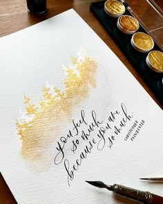 """""""You feel so much because you are so much"""" - Christopher Poindexter - gold watercolor misty pines + Christopher Poindexter's poetry is probably the perfect combination ✨ Love calligraphing beautiful words! Watercolor Calligraphy Quotes, Watercolor Quote, Gold Watercolor, Watercolor Trees, Modern Calligraphy, Watercolor Landscape, Watercolor Illustration, Watercolor Paintings, Copperplate Calligraphy"""