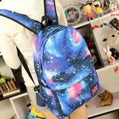 Womens boys galaxy #canvas rucksack backpack #leisure #travel shoulder bags le,  View more on the LINK: http://www.zeppy.io/product/gb/2/401098142722/