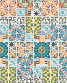 Tiles wallpaper-posters based on an illustrated tiles pattern inspired by traditional Italian tiles combined with graphic imagery, single sheets size Pattern Texture, Surface Pattern Design, Tile Wallpaper, Pattern Wallpaper, Tile Art, Mosaic Tiles, Wall Tiles, Textile Patterns, Print Patterns