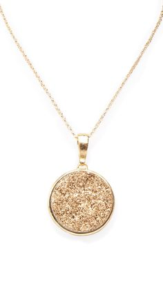 Gold Druzy Round Pendant Necklace