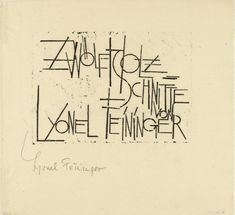Title page (Titelblatt) from the portfolio Twelve Woodcuts by Lyonel Feininger (Zwölf Holzschnitte von Lyonel Feininger)  Lyonel Feininger (American, 1871-1956)