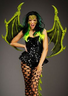 A fantastic quality pair of dragon wings that are a stunning addition to a dragon costume, these wings are made of a green foam latex and measure by Rave Halloween Costumes, Cool Costumes, Costumes For Women, Costume Ideas, Halloween Queen, Carnival Costumes, Adult Halloween, Halloween Ideas, Halloween Face