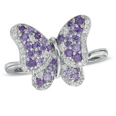 #Valentines #AdoreWe #Zales - #Zales Amethyst and Lab-Created White Sapphire Butterfly Ring in Sterling Silver - AdoreWe.com