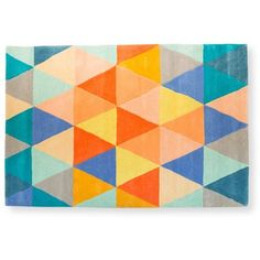 Triangle Tufted Rug ($295) ❤ liked on Polyvore featuring home, rugs, backgrounds, handmade rugs, multicolor rug, multi colored area rugs, multicolored rug and multicolor area rug