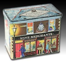 "VINTAGE HOUSE SHAPED TIN ""BOOTS WINE MERCHANTS"" SHOP WINTER STREET SCENE"