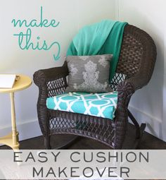 Easy Chair Makeover: Simple step by step tutorial to makeover a chair cushion, quick and easy. Perfect for a beginner level DIY project.