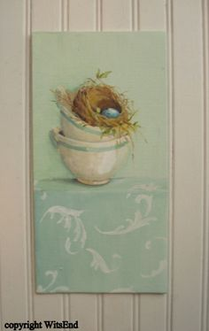 Teacup Nest painting minty green ancanthus leaves and egg original ooak FREE usa shipping,  via Etsy. SOLD