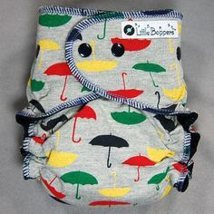Cloth Diaper One Size AI2 All-in-2 with Wind Pro Fleece - by Little Boppers - Umbrellas on Grey. $31.00, via Etsy.