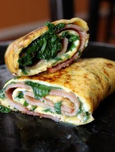 Spinach Ham Omelet Roll-Up  1-2 slices of deli ham based on thickness  2 eggs  handful of baby spinach chopped  Kosher Salt and Pepper  cheese or other toppings to taste