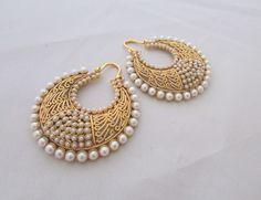 Pearl Gold Mesh Hoop Earrings, Indian Jhumka Pearl Earrings by Rumi Collections