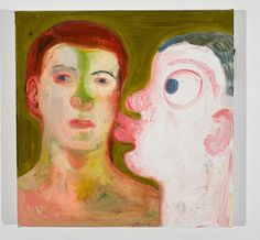 Nicole Eisenman Kissing People 2009 OIl on canvas 12 x 12 inches Adam And Eve, My Ride, Contemporary Paintings, American Artists, Figurative Art, Art World, Wonders Of The World, Art Inspo, Oil On Canvas