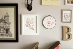"""This free embroidery pattern is based on the American Sign Language sign for """"I love you."""" Perfect DIY art for a baby nursery, playroom or Valentine's Day gift idea. Download the design at MakeAndDoCrew.com."""