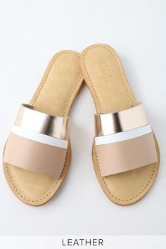 Slide your beach feet into Rebels Harmony Sand Leather Slide Sandals! Genuine leather in stripes of blush, white, and rose gold shape a wide toe-strap atop these trendy slide sandals. Strappy Sandals Outfit, Shoes Flats Sandals, Sport Sandals, Slide Sandals, Shoe Boots, Sandal Heels, Women Sandals, Flat Sandals, Pretty Shoes