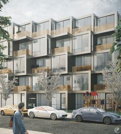 Snyder Ave Housing ++, Brooklyn, NY on Behance Residential Building Design, Home Building Design, Residential Complex, Building Facade, Residential Architecture, Facade Design, Exterior Design, Box Architecture, Mix Use Building