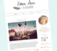 Blogger Template - Responsive Blog - Premade Blogger Design - Hand Drawn Feather - Cute Blog - Orange and Turquoise - Ellen Sue
