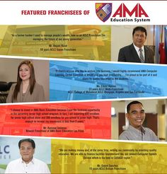 ATTENTION ENTREPRENEURS AND INVESTORS! See you at the AMA Franchise booth at the 17th Cebu Franchise Expo on March 4-6, 2016 at SM City Cebu Tradehall and find out how you can have a profitable school business. Our friendly Franchise Team will be glad to entertain your questions and discuss how you can be one of our partners. Contact us for more information: Sun: 0932-3817890 Globe: 0977-8239910 Landline: (02) 737-553