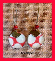 Grandes boucles d'oreilles rouge à gros pois blancs : Boucles d'oreille par crocmyys