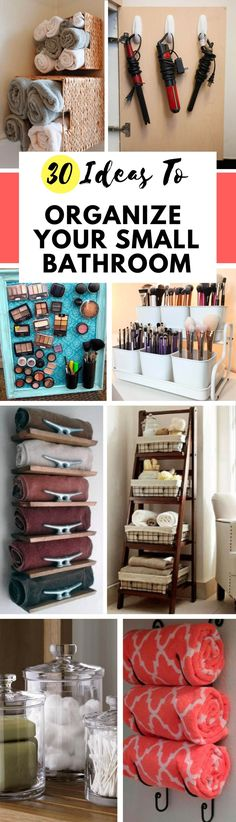 Here are some of the best storage ideas for a small bathroom. Here's how you should re-organize your toiletries and towels the next time you clean! #bathroom #organization #cleaning #storage