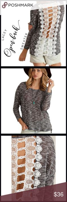 Crochet Lace Back Lightweight Sweater Crochet Lace Back Lightweight Sweater; very lightweight sweater with an open coho her lace back; black marled material with is soft and not scratchy. Boutique Sweaters