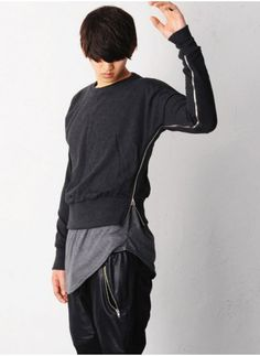 Mens Side Zip Drop Armhole Layering Cropped Jersey Tee at Fabrixquare