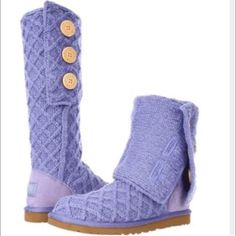 Light purple tall knit uggs Beautiful pair of knit Uggs in a light lavender color! UGG Shoes Winter & Rain Boots
