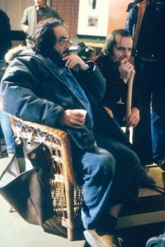 Jack Nicholson and Stanley Kubrick watching video playback